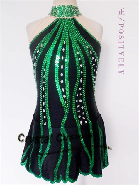 dark green figure skating competition dress customized