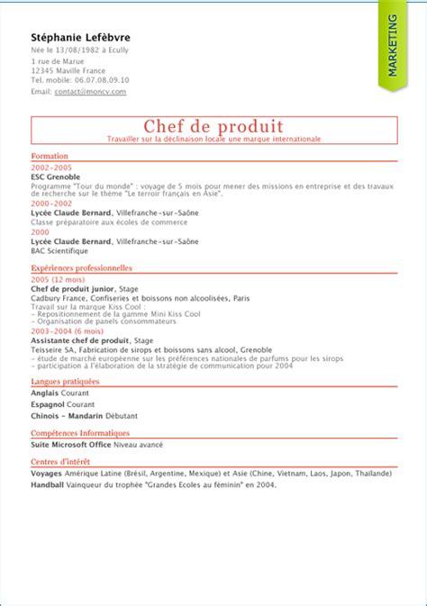 Modèle Cv Franàçais Gratuit by Resume Format Model Cv En Francais