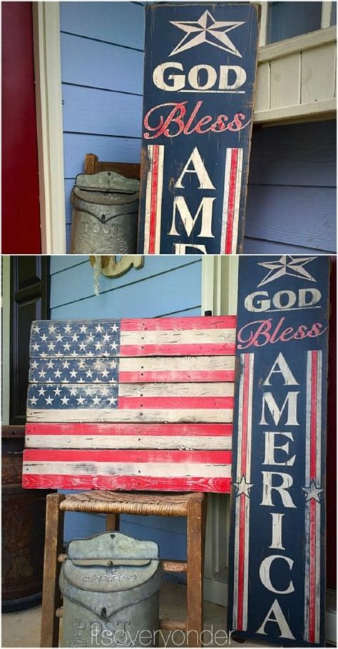 diy rustic wooden fourth  july decor ideas style