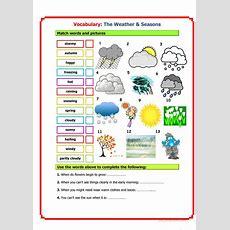 Vocabulary Weather & Seasons Worksheet  Free Esl
