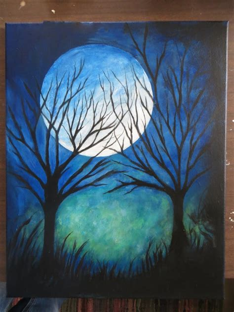 abstract art modern art night time moon  trees painting