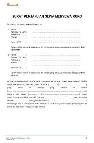 contoh surat perjanjian sewa ruko kios pdfdoc lamudi