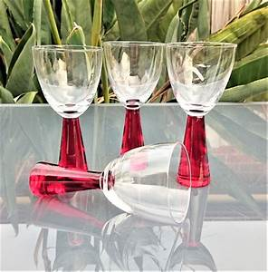 Vintage Red Thick Stem Wine Glasses Set Of 4 551c