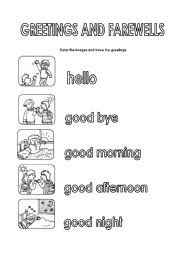 farewells worksheets