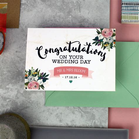 Personalised 'congratulations On Your Wedding Day' Card By