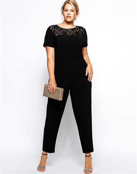 jumpsuit plus size ax plus size lace top jumpsuit in black lyst