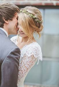 Chignon with Baby's Breath Flower Crown | Wedding ...