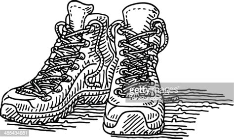 hiking shoes pair drawing high res vector graphic getty