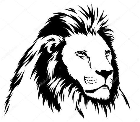 dessin lion noir  blanc