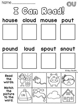 ou and ow worksheets activities no prep by miss