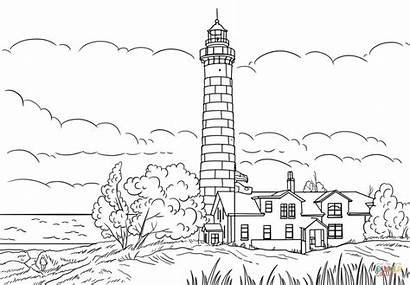 Lighthouse Coloring Michigan Point Sable Pages Ludington