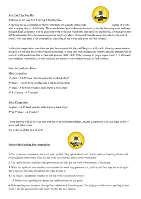 year    spelling bee letter template  words