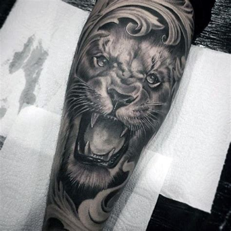 filigree mens lion forearm sleeve tattoos cool sleeve