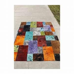 otto tapis patchwork en peaux cuir multiples couleurs With tapis peau de vache avec produit detachant tissu canape