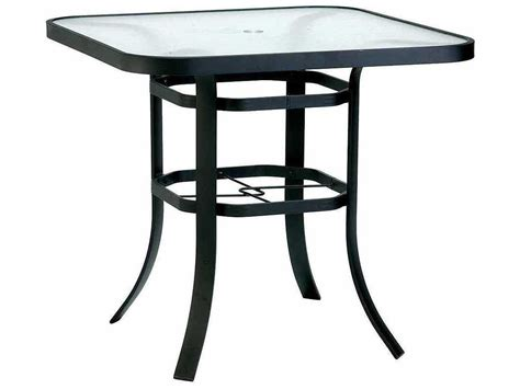 table with umbrella hole winston obscure glass aluminum 42 39 39 square bar table with