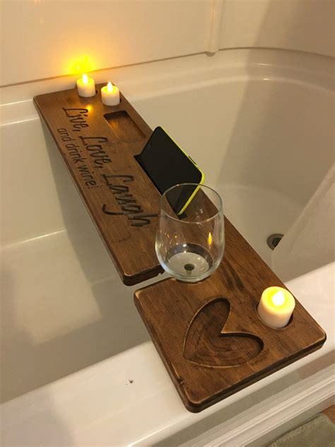 personalized wooden bath tray  book rest candles