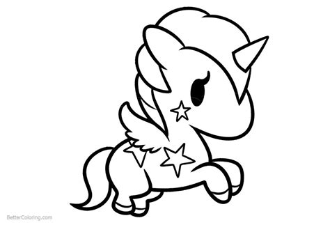 simple chibi unicorn coloring pages  printable
