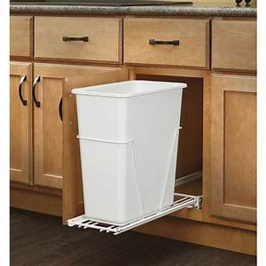 Rev a shelf rv 9pb 5 30 qt plastic pull out trash can for Kitchen cabinets lowes with recycle stickers