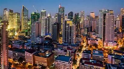 Manila Metro Makati Skyline Night Rise Buildings