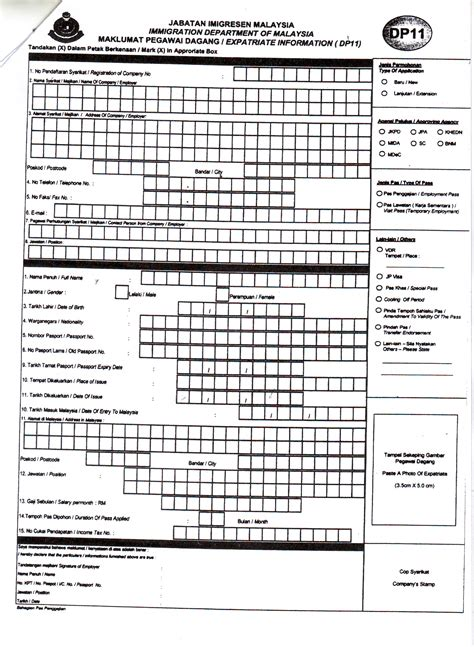 application forms expatriate information  malaysia