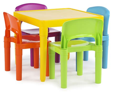 plastic table and chairs tot tutors kids plastic table and 4 chairs set vibrant colors
