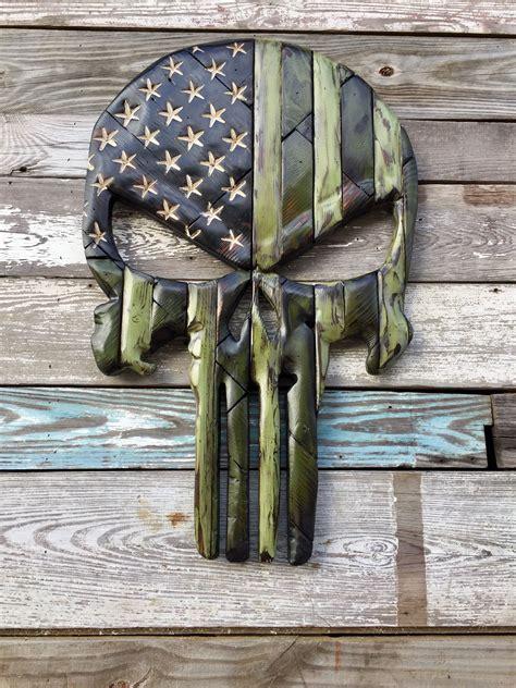 military skull wood flag wood
