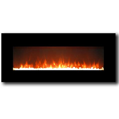 Lawrence 50 Inch Crystal Electric Wall Mounted Fireplace Black