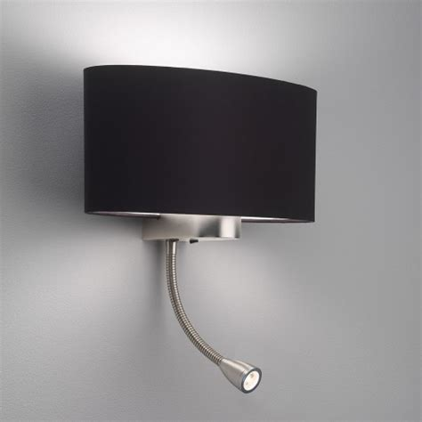 astro napoli matt nickel wall light with led reading light at uk electrical supplies
