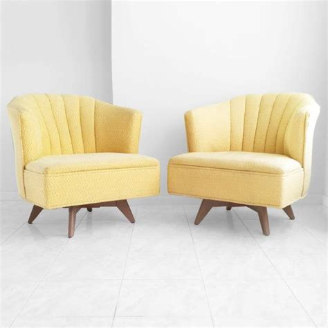1950s mid century modern swivel lounge chairs