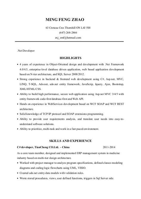 Developer Resume 5 Years by Net Developer Resume Ming Zhao