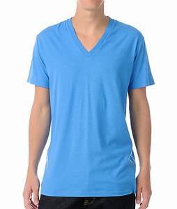 Zine Deuce Light Heather Blue V-Neck T-Shirt | Zumiez