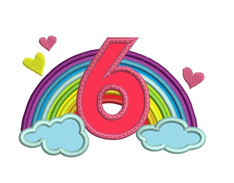 Cute Rainbow Birthday Number 6 Six Only Machine Embroidery