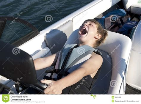 Boat Driving Area by Boy Driving Ski Boat Fast Royalty Free Stock Images