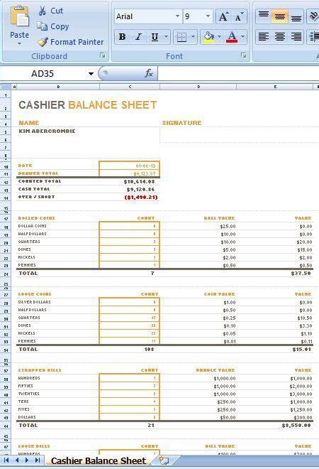 cashier balance sheet   layout    stay informed