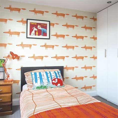 childrens bedroom  orange fox motif wallpaper