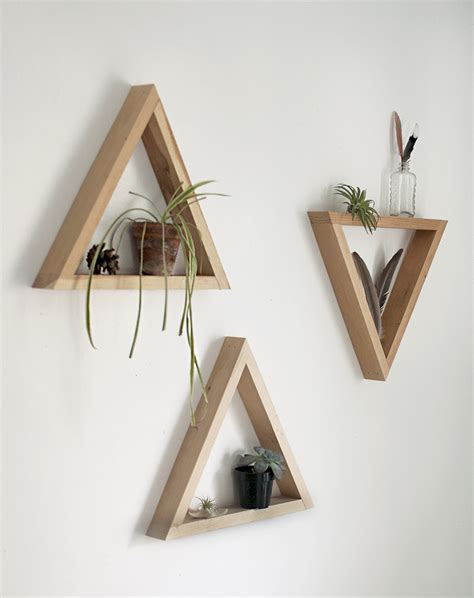 how to make a wall shelf diy wooden triangle shelves the merrythought