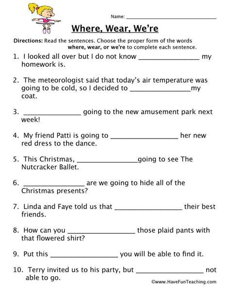 wear  homophones worksheet
