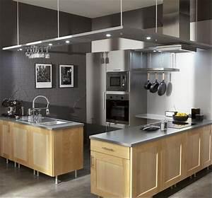 Cuisine Bois Clair : mur couleur gris souris et meubles de cuisine en bois ~ Melissatoandfro.com Idées de Décoration