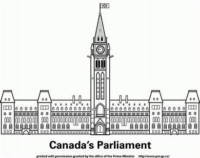 Parliament Building Canada Clipart Symbols Colouring Parlement