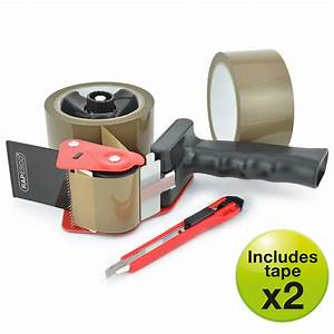 960 Tape Dispenser With 2 Brown Packing Tapes  U0026 Knife