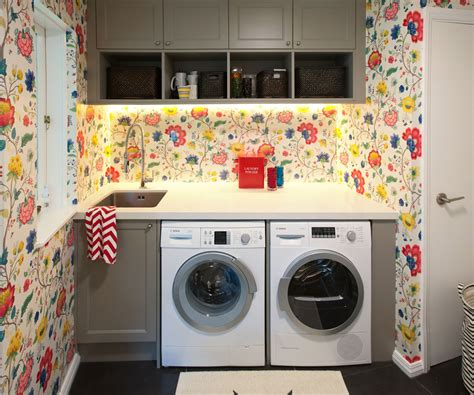 bright wallpaper helps  liven   dull laundry room