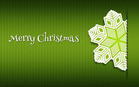 merry christmas card paper snowflakes  green