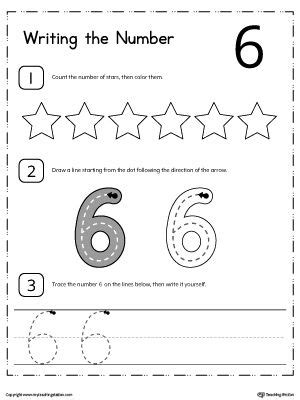 learn to count and write number 6 numbers counting numbers preschool kindergarten