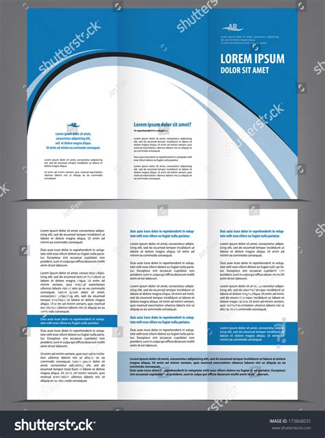 Trifold Design Template Empty by Vector Empty Trifold Brochure Template Design With Blue