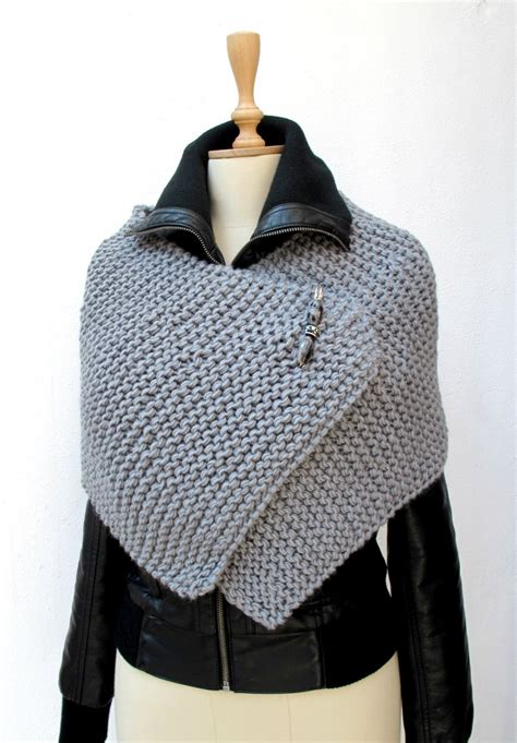 crochetbutterfly knitting knit knitted capelet poncho wrap grey chunky sporty brooch beaded