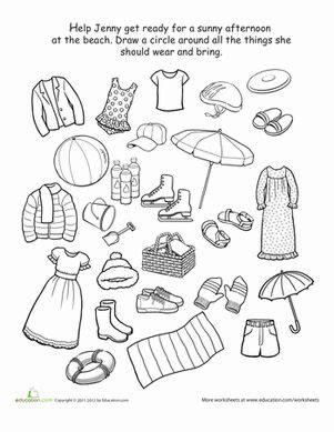 what to wear to the beach cabello y belleza preschool worksheets y kindergarten worksheets
