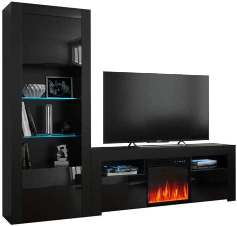milano set ef bk electric fireplace modern wall unit