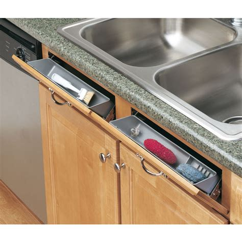 kitchen sink sponge drawer cabinetstorage com 6572 series sink front tip out trays