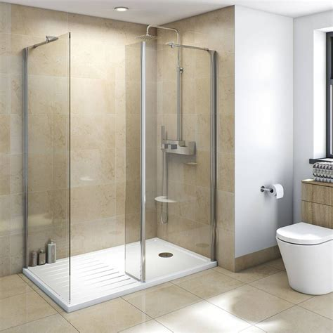 bathroom shower enclosures ideas mode luxury 8mm walk in enclosure pack with tray 1600 x