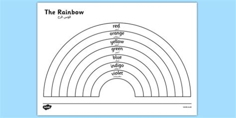 color in translation the rainbow colours colouring sheet arabic translation